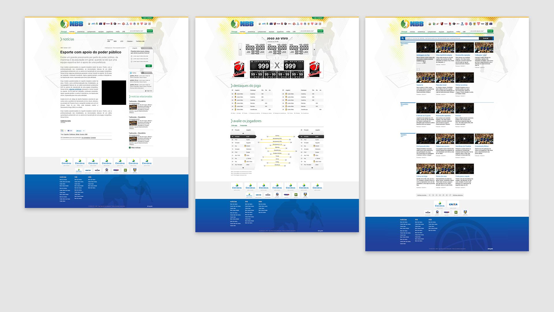 LNB: Notícias; Jogo em tempo real e Galeria de mídia
